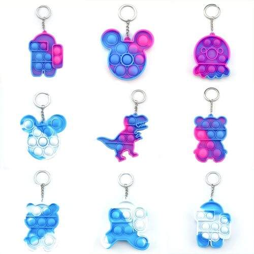 Mini Push Pop Bubble Sensory Toy Funny Keychain Autism Squishy Stress Reliever Toys For Children Relief Funny Pop-It Fidget Toys