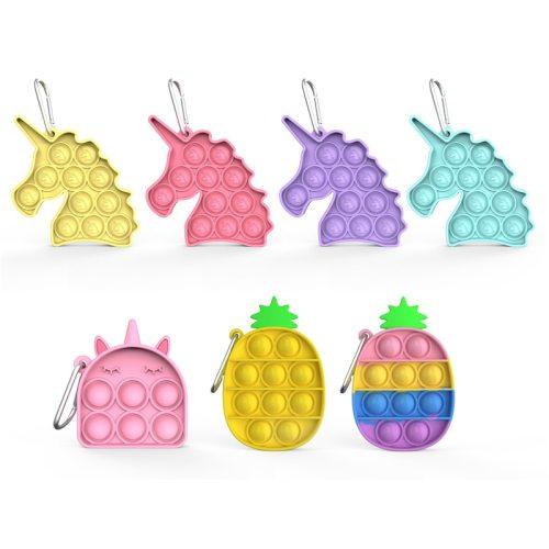 Mini Pop It Fidget Toys Bubble Sensory Toy Adult Child Stress Reliever Autism Needs Squishy Stress Reliever Toys Fidget Keychain