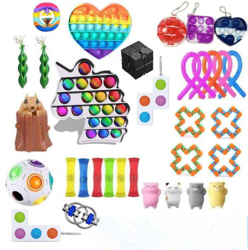 30-38 pcs Sensory Fidget Toys Set Pop Bubble Soybean Squeeze Stress Relief Balls with Fidget Hand Toys for Kids Adults Calming Toys for ADHD Autism Anxiety Relief