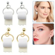 Toilet Paper Roll Earrings for Women, Ladies Small Novelty Dangle Earrings, Handmade Funny Jewelry