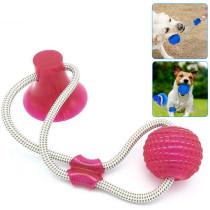 Pet Molar Bite Toy, Multifunction Interactive Ropes Toys, Rubber Chew Ball Toy with Suction Cup