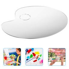 2pcs Acrylic Paint Palette, Transparent Paint Palette Easy to Clean, Art Paint Pallet with Thumb Hole
