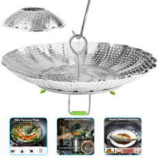 Folding Steamer Basket, steamer basket for instant pot Staninless Steel, Mesh Vegetable Steamer
