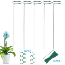 6 Pcs Plant Support Stakes, Garden Flower Tomato Support Stake, Steel Single Stem Support Cage
