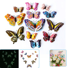 12pcs Luminous Butterfly Wall Stickers, 3d Double layer Wall Stickers, Removable DIY Wall Decor