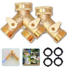 2pcs 2 Way Brass Hose Splitter, 3/4  Brass Hose Connectors, Y Connector Garden Hose Adapter