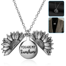 You are My Sunshine Necklace, Sunflower Locket Necklace for Women, Pendant Necklace Jewelry