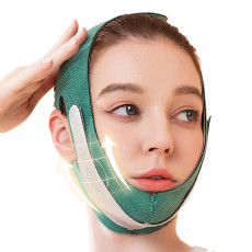 Graphene Face Slimming Strap, Reduce Double Chin Thin Face-lift Belt, V Line Lifting Strap Green