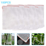 100pcs Fruit Protection Bags with Drawstring, Grapes Mesh Bag Against Insect, Nylon Netting Barrier Bag