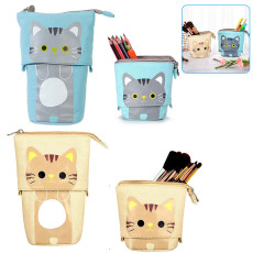 Angoo Pencil Holder Canvas, Cartoon Cute Cat Canvas Fold Standing Holder, Stationery Box with Zipper