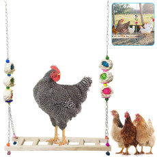 Wooden Chicken Swing, Pet Bird Parrot Trainning Swing, Handmade Chicken Coop Swing Ladder Toys