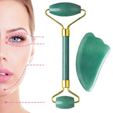Jade Roller for Face, Jade roller and gua sha set for Face, Facial roller massager 100% Natural Quartz