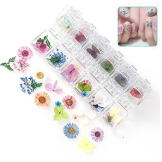 3D Dried Flowers Nail Stickers, Dry Flowers for Nail Decals, Nail Art Supplies Manicure Decoration