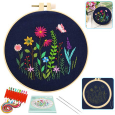 Embroidery Starter Kit with Pattern, DIY Embroidery Kit Flowers for Beginner, Plants Pattern Embroidery