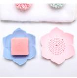 Silicon Lotus Shape Draining Soap Dish Tray, Flexible Soap Tray for Bathroom Shower, Soap Holder