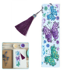 DIY Diamond Painting Leather Bookmark, 5D Art Kits for Adults Kids, Shiny Bookmarks with tassels
