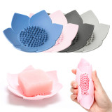 Silicon Lotus Shape Draining Soap Dish Tray, Flexible Soap Tray for Bathroom Shower, Soap Holder