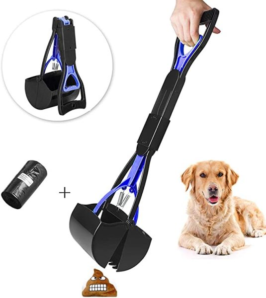Pet Pooper Scooper for Dogs and Cats with Long Handle, Foldable Dog Poop Waste Pick Up Rake