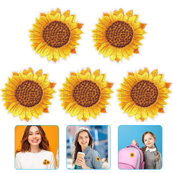 10 pcs Sunflower Embroidery Patches, Sew On Applique Badge for Clothes, DIY Patches for Jackets Jeans