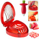 Strawberry Huller Fruit Slicer Set, Strawberry Tomatoes Corer, Strawberry Huller Leaf Stem Remover cutters