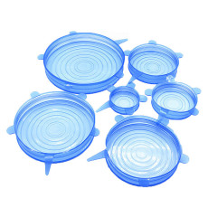 6 pcs Silicone stretch Lids, Reusable Durable Food Storage Covers, Fresh-Keeping Cover for Bowls