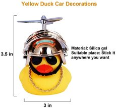 Rubber Duck Toy Car Ornaments, Standing Duck with Helmet, Bicycle Accessories for Kids Adults Sport