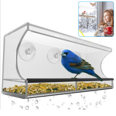 Window Bird Feeder, Bird Feeder with Strong Suction Cups, Clear Bird Feeder with Drain Holes Outdoor