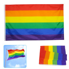 Gay Pride Rainbow LGBT Flag, Large 3x5 Ft Lesbian LGBT Flags, Outdoor Indoor Decoration Banner