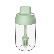 One-piece Glass Silicone Brush Barbecue Oil Bottle, Transparent Storage Container  8.45 oz, Oil Bottle