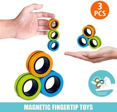 Magnetic Ring Fidget Spinner Toy, Finger Magnetic Ring, Stress Relief Magic Bracelet Ring for Anxiety