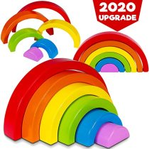 Wooden Rainbow Building Blocks, Six-Color Rainbow Stacking Toy, Learning Toys for Kids Toddlers