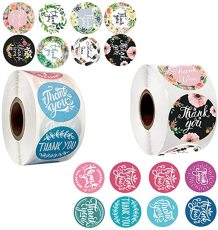 Thank You Stickers, 16 Designs 1 Inch Thank You Sticker Roll for Business, 1000 Pcs Labels for Gifts