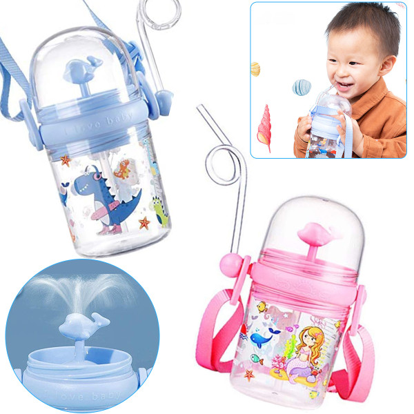 Cute Children's whale spray cup, Whale Spray Drinking Cup With Straw, 250ml Portable Kids Water Bottle