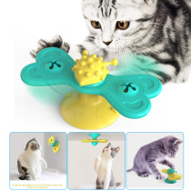 Turntable Windmill Cat Toy With Suction Cup, Butterfly Shaped Kitten Teasing Toys, Cat Interractive Toys
