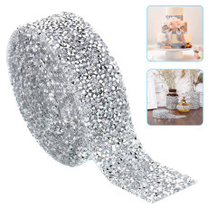Crystal Rhinestone Ribbon 1.18 inch, DIY Self-Adhesive Sparkling Bling Ribbons Roll, Banding Belt Wrap