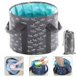 25L Collapsible Foot Basin, Multifunction Foldable Portable Storage Basin, PEVA Material Foot Bath Bucket