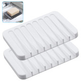Self Draining Soap Holders, Flexible Soap Dishes Tray, Silicone Soap Plate Soap Saver for Bathroom Kitchen