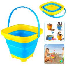Collapsible Bucket with Handle, Expandable Beach Sand Pail, Foldable Bucket for Kids Beach Play Sand Buckets 2L