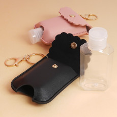 Portable Squeeze Bottle, Empty Leakproof Plastic Travel Bottle with Leather Keychain, Refillable Bottle for for Hand Sanitizer