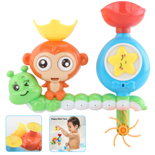 Bath Toys for Toddlers Age 1 2 3 Year Old Girl Boy, Bathtub Water Toys, Monkey Caterpillar Sprinkle Toys