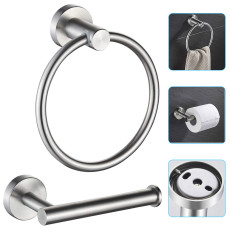 Bathroom Hardware Set 2 Piece, Towel Ring and Toilet Paper Holder, Stainless Steel Wall Mount Toilet Paper Holder