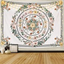 Mandala Tapestry, Floral Medallion Tapestry Wall Hanging, Sketched Flower Plant Bohemian Tapestry
