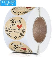 Thank You for Supporting My Small Business Stickers, Kraft 1.5 Inches Adhesive Labels, Sealing Labels 500 PCS/Roll