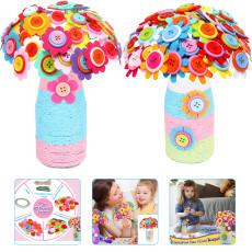 DIY Felt Toy Button Flower Craft Kits, Make Your Own Button Felt Flowers Vase, Creative Handmade Toys