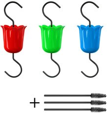 Hummingbird Feeder Accessory Hooks, 3pcs Ant Moats for Bird Feeder With Brushes, Hanging Hooks for Outdoors