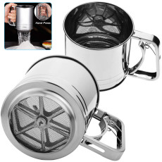 Stainless Steel Hand-held Flour Sifter with Handle, Squeeze Metal Fine Mesh Sieve, Baking Accessories