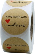 500pcs Kraft Homemade with Love Stickers, Seal Labels for Envelope And Package, Adhesive Stickers 1.5''