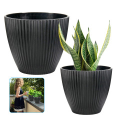 2 PCS Flower Pots, 6 Inch Plastic Pots for Plants, Indoor and Outdoor Planters for Succulents, Herbs, Bonsai