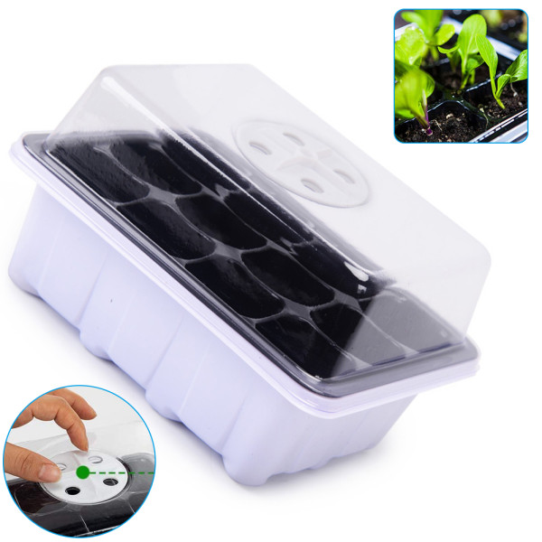 Seed Propagator Tray Set, 12 Cells Plant Starter Kit with Lid, Seedling Tray for Germination Growing Greenhouse Grow