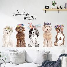 Dog Pattern Wall Stickers, Wall Stickers For Kids Rooms, Waterproof Bathroom Decoration Wall Decals